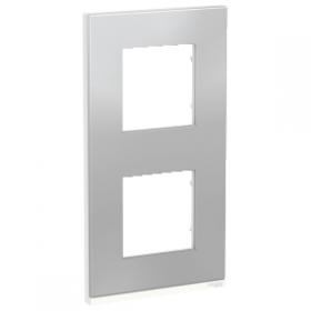 SCHNEIDER 2 Postes Aluminium liseré Blanc Unica Pure plaque verticale NU6004V80 NU6004V80