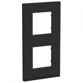 SCHNEIDER 2 Postes Gomme noire liseré Anthracite Unica Pure plaque vertical NU6004V82 NU6004V82