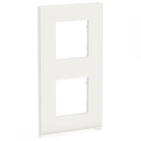 SCHNEIDER 2 Postes Givre blanc liseré Blanc Unica Pure plaque Vertical NU6004V85 NU6004V85