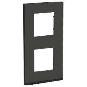 SCHNEIDER 2 Postes Givre noir Unica Pure plaque de finition Vertical NU6004V86 NU6004V86
