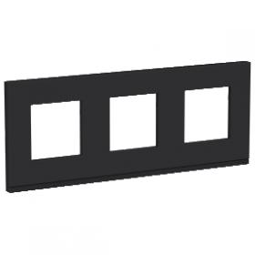 SCHNEIDER 3 Postes Gomme noire liseré Anthracite Unica Pure plaque de finition NU600682 NU600682