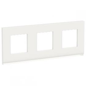 SCHNEIDER 3 Postes Givre blanc liseré Blanc Unica Pure plaque de finition NU600685 NU600685