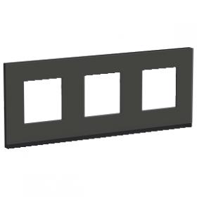 SCHNEIDER 3 Postes Givre noir Unica Pure plaque de finition NU600686 NU600686