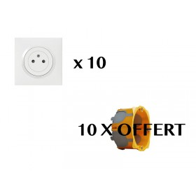 LEGRAND Pack LEGRAND 10 Prises DOOXIE COMPLET BLANC 10 ECOBOX OFFERTE PACKDOOXIE2
