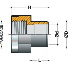 NICOLL Réduction mixte taraudée renforcée femelle à coller diamètre 32mm 26x34 RTR32 NICOLL RTR32