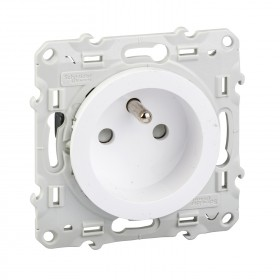SCHNEIDER Odace, prise de courant 2P+T Blanc, à vis, connexion à vis S520039