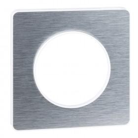SCHNEIDER Odace Touch, plaque Aluminium brossé avec liseré Blanc 1 poste S520802J