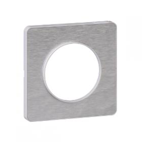SCHNEIDER Odace Touch, plaque Aluminium martelé avec liseré Blanc 1 poste S520802K