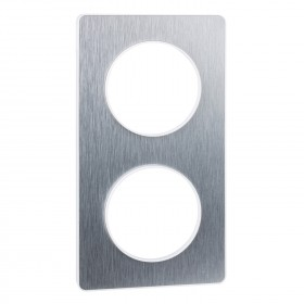 SCHNEIDER Odace Touch, plaque Aluminium brossé liseré Blanc 2 postes horiz./vert. 71mm S520804J