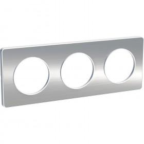 SCHNEIDER Odace Touch, plaque Aluminium brossé liseré Blanc 3 postes horiz./vert. 71mm S520806J