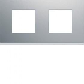 HAGER Plaque 2 Postes TITANE HAGER GALLERY 71 mm WXP0112 WXP0112