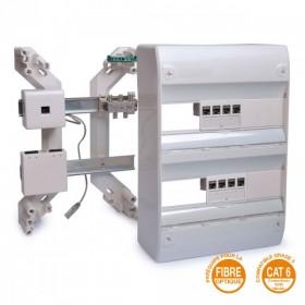 OHMTEC Coffret de communication TV/TEL/RJ45/Fibre optique 2 rangées OHMTECH 423805 423805