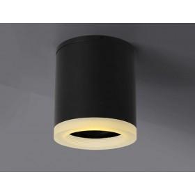 GOTRAVO Plafonnier spot LED cylindrique Noir 9 watts blanc Froid collerette GO000042