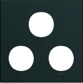 HAGER Enjoliveur prise TV+FM+SAT NOIR HAGER GALLERY WXD256N WXD256N