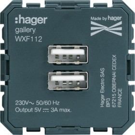 HAGER Prise chargeur USB double 3 A max. HAGER GALLERY WXF112 WXF112