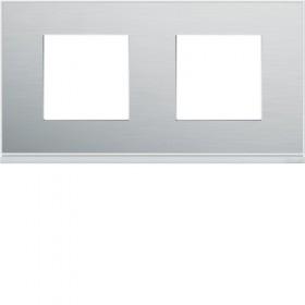 HAGER Plaque 2 Postes ALUMINIUM HAGER GALLERY 71 mm WXP2012 WXP2012
