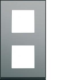 HAGER Plaque 2 Postes Vertical ACIER HAGER GALLERY 71 mm WXP2142 WXP2142