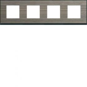 HAGER Plaque 4 Postes PECAN BOIS BRUN HAGER GALLERY 71 mm WXP2414 WXP2414