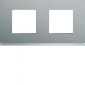 HAGER Plaque 2 Postes INOX BRILLANT HAGER GALLERY 71 mm WXP4212 WXP4212
