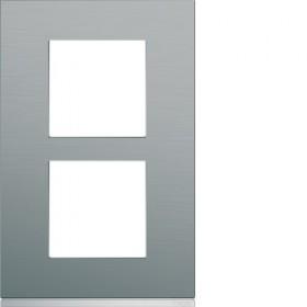 HAGER Plaque 2 Postes Vertical INOX BRILLANT HAGER GALLERY 57 mm WXP4222 WXP4222