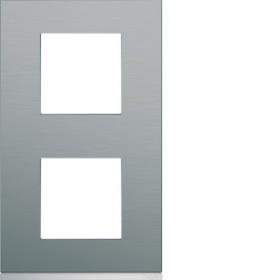 HAGER Plaque 2 Postes Vertical INOX BRILLANT HAGER GALLERY 71 mm WXP4242 WXP4242