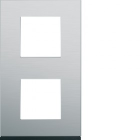 HAGER Plaque 2 Postes Vertical ALU BROSSÉ HAGER GALLERY 71 mm WXP4342 WXP4342