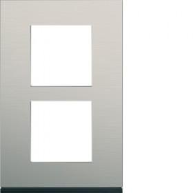 HAGER Plaque 2 Postes Vertical ALU BROSSÉ LAITON HAGER GALLERY 57 mm WXP4522 WXP4522