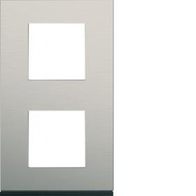 HAGER Plaque 2 Postes Vertical ALU BROSSÉ LAITON HAGER GALLERY 71 mm WXP4542 WXP4542