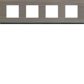HAGER Plaque 4 Postes BOIS CENDRÉ HAGER GALLERY 71 mm WXP4814 WXP4814
