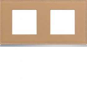 HAGER Plaque 2 Postes CUIR BEIGE HAGER GALLERY 71 mm WXP5112 WXP5112