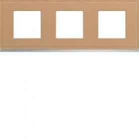 HAGER Plaque 3 Postes CUIR BEIGE HAGER GALLERY 71 mm WXP5113 WXP5113
