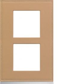 HAGER Plaque 2 Postes Vertical CUIR BEIGE HAGER GALLERY 57 mm WXP5122 WXP5122