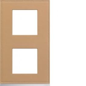 HAGER Plaque 2 Postes Vertical CUIR BEIGE HAGER GALLERY 71 mm WXP5142 WXP5142