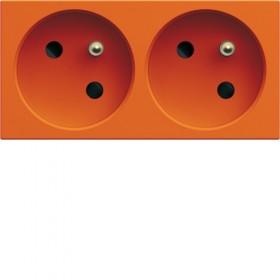 HAGER Prise de courant DOUBLE pour goulotte 2P+T 16A ORANGE HAGER GALLERY WXF422E WXF422E