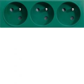 HAGER Prise de courant TRIPLE pour goulotte 2P+T 16A VERT HAGER GALLERY WXF423V WXF423V