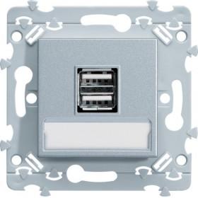HAGER Chargeur double USB Titane WE111T Essensya Hager WE111T