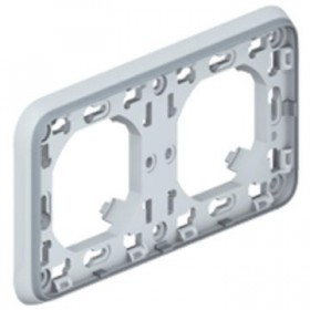 LEGRAND Plaque + support 2 postesh gris 069683