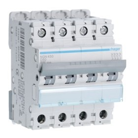 HAGER Disjoncteur 4 Pôles 6-10kA Courbe D 50A 4 Modules NGN450 HAGER NGN450