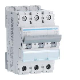 HAGER Disjoncteur 3 Pôles 10-15kA Courbe C 50A 3 Modules NKN350 HAGER NKN350