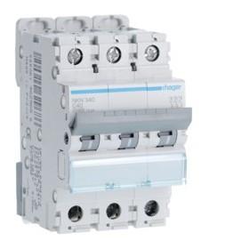 HAGER Disjoncteur 3 Pôles 10-15kA Courbe C 40A 3 Modules NKN340 HAGER NKN340