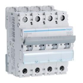 HAGER Disjoncteur 4 Pôles 6-10kA Courbe D 40A 4 Modules NGN440 HAGER NGN440