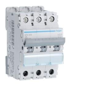 HAGER Disjoncteur 3 Pôles 6-10kA Courbe C 6A 3 Modules NFN306 HAGER NFN306