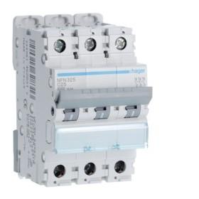 HAGER Disjoncteur 3 Pôles 6-10kA Courbe C 25A 3 Modules NFN325 HAGER NFN325