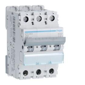HAGER Disjoncteur 3 Pôles 6-10kA Courbe C 63A 3 Modules NFN363 HAGER NFN363