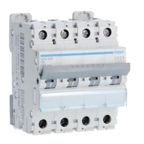 HAGER Disjoncteur 4 Pôles 6-10kA Courbe C 6A 4 Modules NFN406 HAGER NFN406