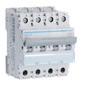 HAGER Disjoncteur 4 Pôles 6-10kA Courbe C 20A 4 Modules NFN420 HAGER NFN420