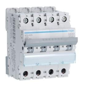 HAGER Disjoncteur 4 Pôles 6-10kA Courbe C 25A 4 Modules NFN425 HAGER NFN425