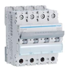 HAGER Disjoncteur 4 Pôles 6-10kA Courbe C 32A 4 Modules NFN432 HAGER NFN432