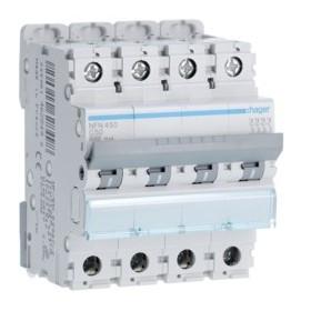HAGER Disjoncteur 4 Pôles 6-10kA Courbe C 50A 4 Modules NFN450 HAGER NFN450