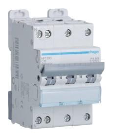 HAGER Disjoncteur 3 Pôles+ Neutre 6-10kA Courbe C 10A 3 Modules NFT810 HAGER NFT810